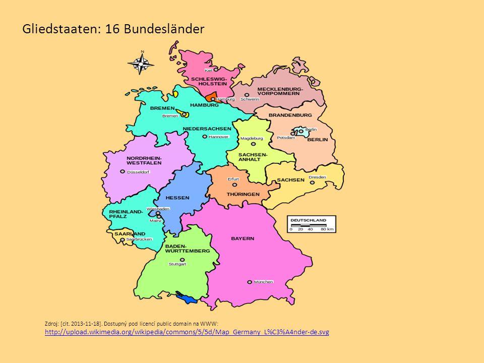 Gliedstaaten: 16 Bundesländer Zdroj: [cit. 2013-11-18]. Dostupný pod licencí public domain na WWW: http://upload.wikimedia.org/wikipedia/commons/5/5d/