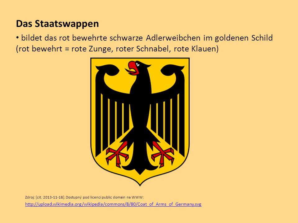 Das Staatswappen bildet das rot bewehrte schwarze Adlerweibchen im goldenen Schild (rot bewehrt = rote Zunge, roter Schnabel, rote Klauen) Zdroj: [cit