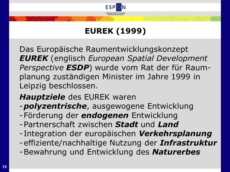 13 EUREK (1999) Das Europäische Raumentwicklungskonzept EUREK (englisch European Spatial Development Perspective ESDP) wurde vom Rat der für Raum- pla