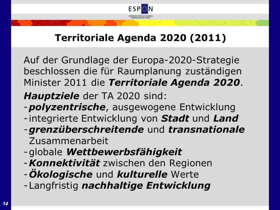 14 Territoriale Agenda 2020 (2011) Auf der Grundlage der Europa-2020-Strategie beschlossen die für Raumplanung zuständigen Minister 2011 die Territori