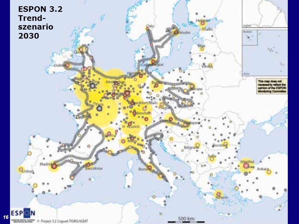 16 ESPON-Projekt 3.2 (2006) ESPON 3.2 Trend- szenario 2030