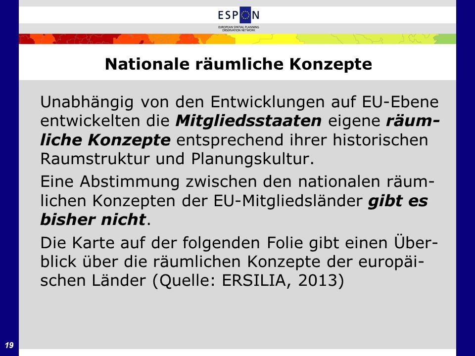 19 Nationale räumliche Konzepte Unabhängig von den Entwicklungen auf EU-Ebene entwickelten die Mitgliedsstaaten eigene räum- liche Konzepte entspreche