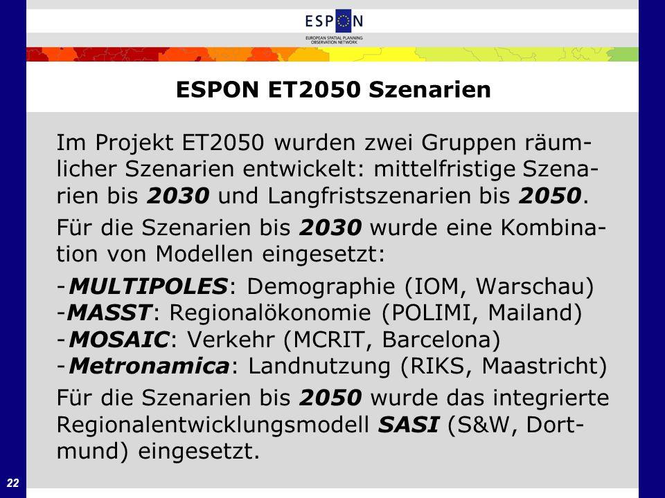 22 ESPON ET2050 Szenarien Im Projekt ET2050 wurden zwei Gruppen räum- licher Szenarien entwickelt: mittelfristige Szena- rien bis 2030 und Langfristsz
