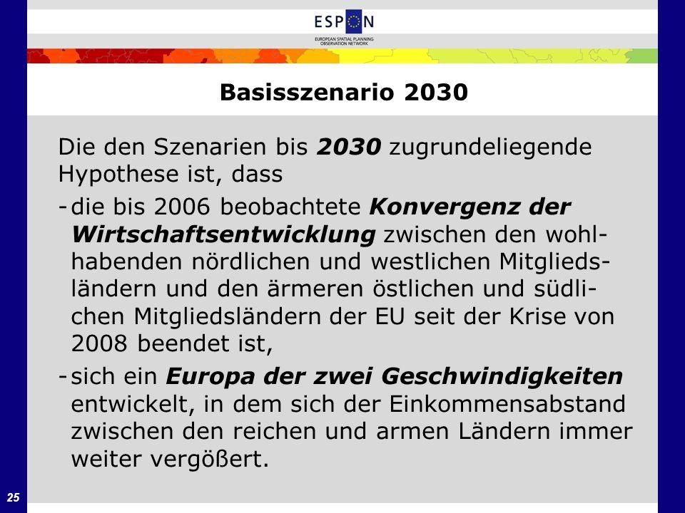 25 Basisszenario 2030 Die den Szenarien bis 2030 zugrundeliegende Hypothese ist, dass -die bis 2006 beobachtete Konvergenz der Wirtschaftsentwicklung