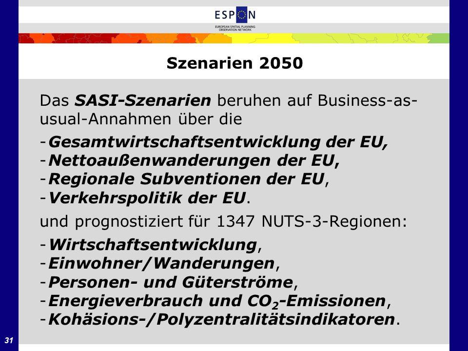 31 Szenarien 2050 Das SASI-Szenarien beruhen auf Business-as- usual-Annahmen über die -Gesamtwirtschaftsentwicklung der EU, -Nettoaußenwanderungen der