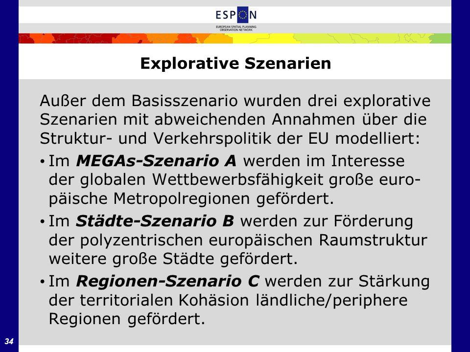 34 Explorative Szenarien Außer dem Basisszenario wurden drei explorative Szenarien mit abweichenden Annahmen über die Struktur- und Verkehrspolitik de