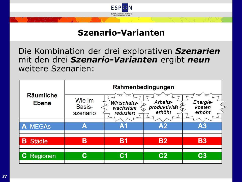 37 Szenario-Varianten Die Kombination der drei explorativen Szenarien mit den drei Szenario-Varianten ergibt neun weitere Szenarien: Wirtschafts- wach