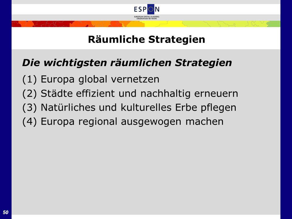 50 Räumliche Strategien Die wichtigsten räumlichen Strategien (1) Europa global vernetzen (2) Städte effizient und nachhaltig erneuern (3) Natürliches