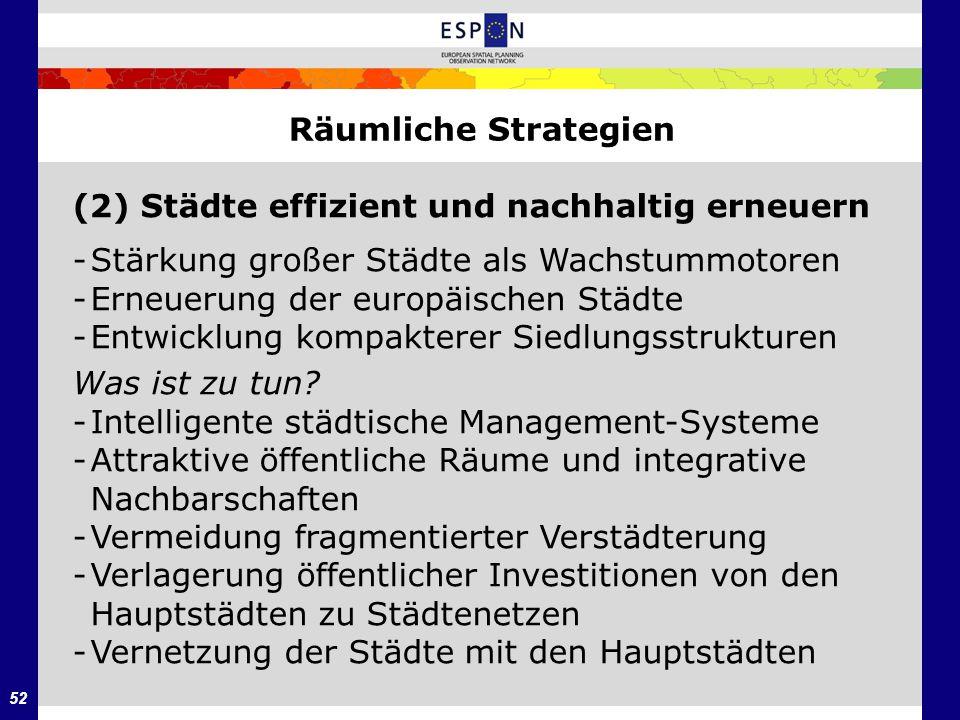 52 Räumliche Strategien (2) Städte effizient und nachhaltig erneuern -Stärkung großer Städte als Wachstummotoren -Erneuerung der europäischen Städte -