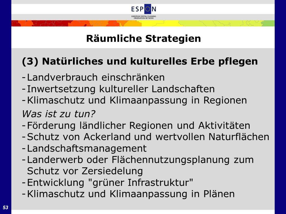 53 Räumliche Strategien (3) Natürliches und kulturelles Erbe pflegen -Landverbrauch einschränken -Inwertsetzung kultureller Landschaften -Klimaschutz