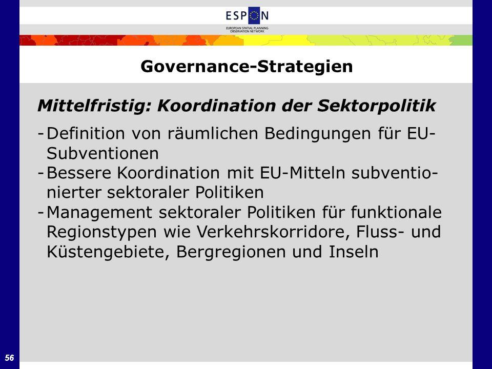 56 Governance-Strategien Mittelfristig: Koordination der Sektorpolitik -Definition von räumlichen Bedingungen für EU- Subventionen -Bessere Koordinati