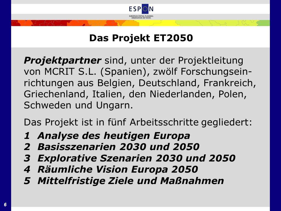 7 Das Projekt ET2050 Die Aufgabe der deutschen Projektpartner in dem Projekt ist die Modellierung der räumli- chen Entwicklung des europäischen Kontinents bis zum Jahre 2050 unter unterschiedlichen Annahmen über die zukünftige Struktur- und Kohäsionspolitik der Europäischen Union und den weiteren Ausbau der transeuropäischen Verkehrsnetze bei gleichbleibenden Annahmen über die Gesamtentwicklung der europäischen Wirtschaft und Außenwanderungen nach der Wirtschaftskrise von 2008.
