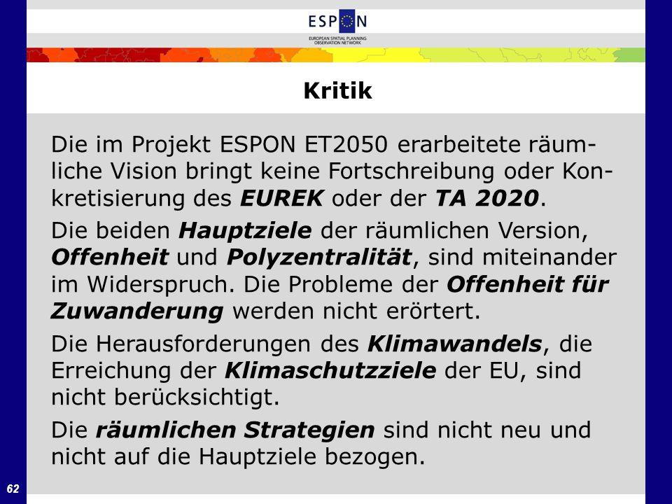 62 Kritik Die im Projekt ESPON ET2050 erarbeitete räum- liche Vision bringt keine Fortschreibung oder Kon- kretisierung des EUREK oder der TA 2020. Di