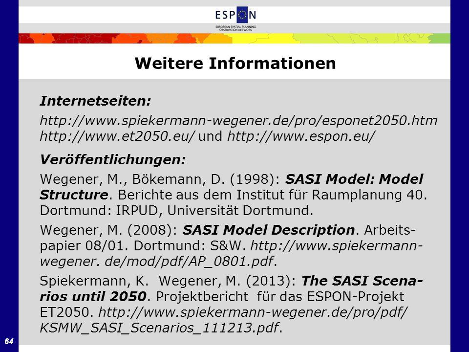 64 Internetseiten: http://www.spiekermann-wegener.de/pro/esponet2050.htm http://www.et2050.eu/ und http://www.espon.eu/ Veröffentlichungen: Wegener, M