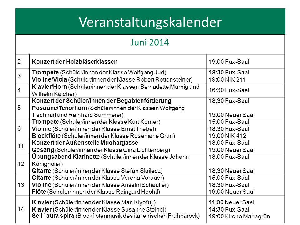 """Veranstaltungskalender Juni 2014 16 Präsentation """"Lust auf alte Musik."""