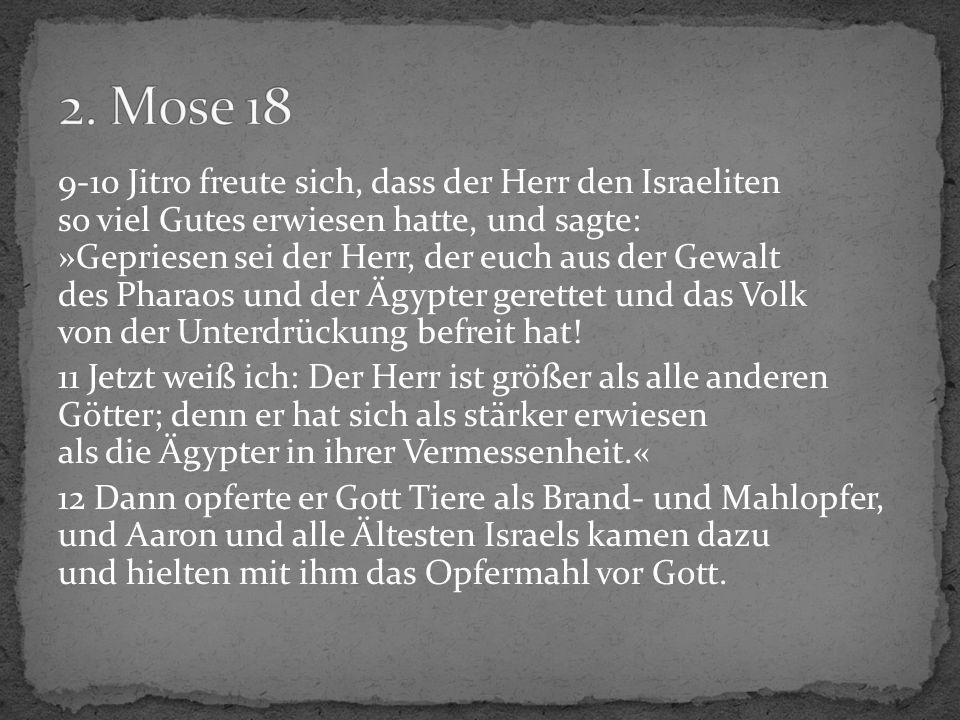 9-10 Jitro freute sich, dass der Herr den Israeliten so viel Gutes erwiesen hatte, und sagte: »Gepriesen sei der Herr, der euch aus der Gewalt des Pha
