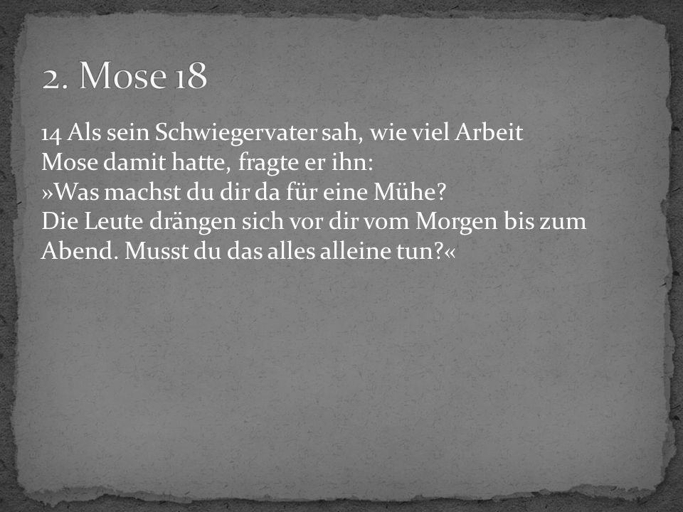 14 Als sein Schwiegervater sah, wie viel Arbeit Mose damit hatte, fragte er ihn: »Was machst du dir da für eine Mühe? Die Leute drängen sich vor dir v