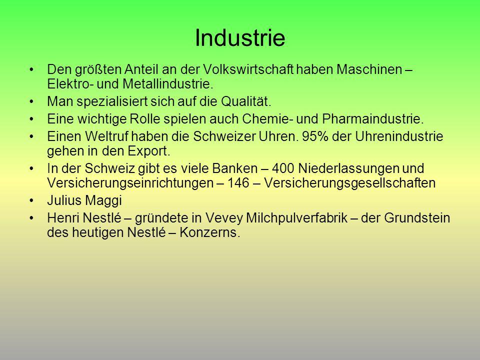 Industrie Den größten Anteil an der Volkswirtschaft haben Maschinen – Elektro- und Metallindustrie. Man spezialisiert sich auf die Qualität. Eine wich