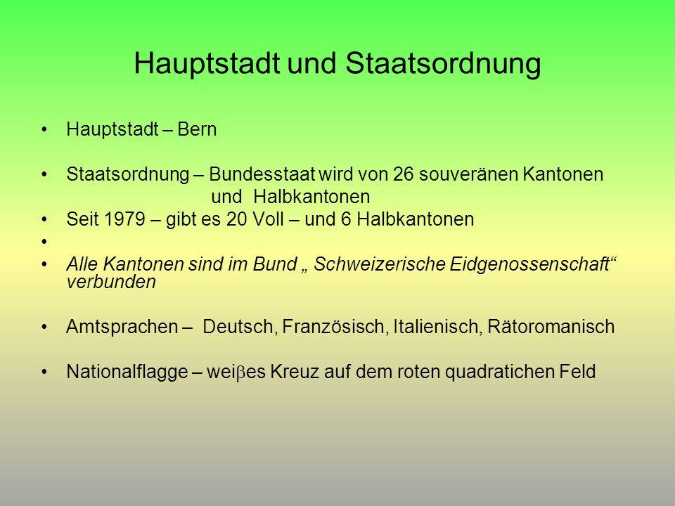 Hauptstadt und Staatsordnung Hauptstadt – Bern Staatsordnung – Bundesstaat wird von 26 souveränen Kantonen und Halbkantonen Seit 1979 – gibt es 20 Vol