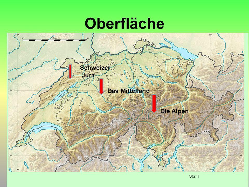 Oberfläche Schweizer Jura Das Mittelland Die Alpen Obr. 1