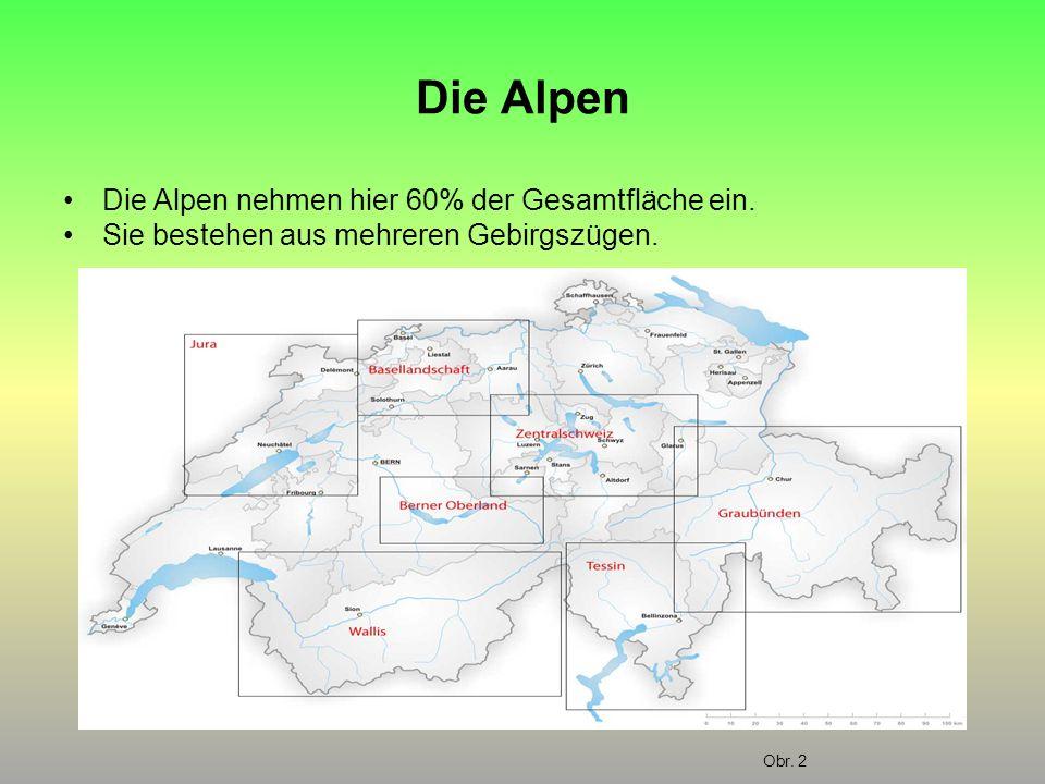 Die Alpen Die Alpen nehmen hier 60% der Gesamtfläche ein. Sie bestehen aus mehreren Gebirgszügen. Obr. 2
