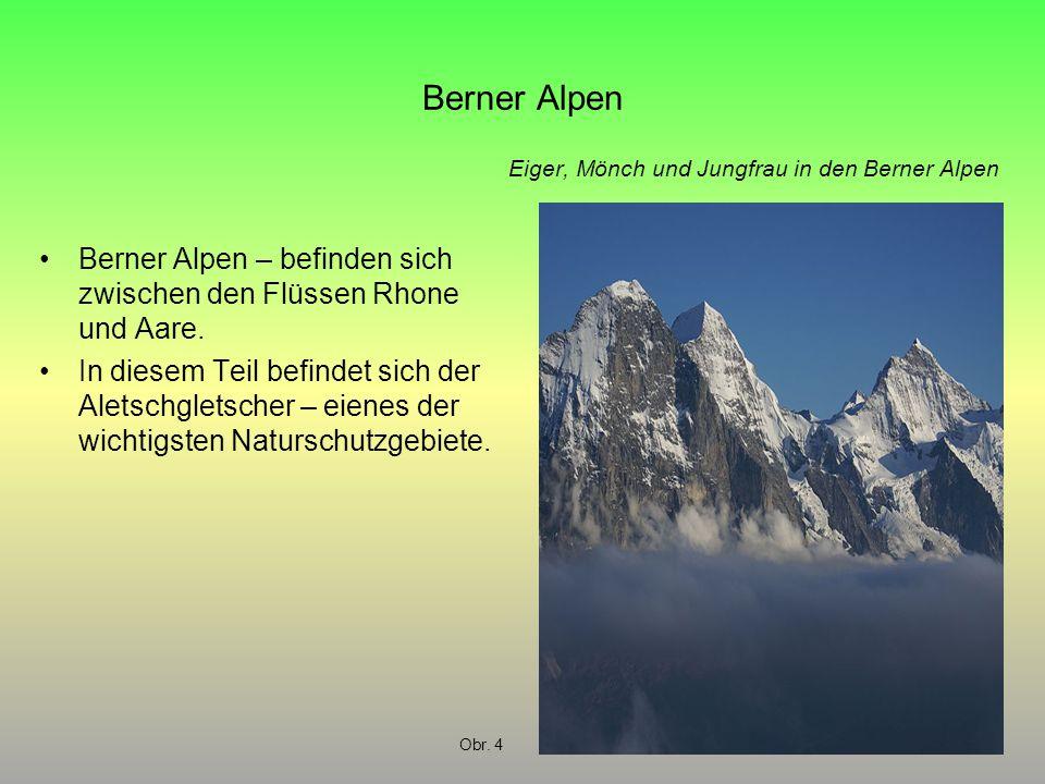 Berner Alpen Berner Alpen – befinden sich zwischen den Flüssen Rhone und Aare. In diesem Teil befindet sich der Aletschgletscher – eienes der wichtigs