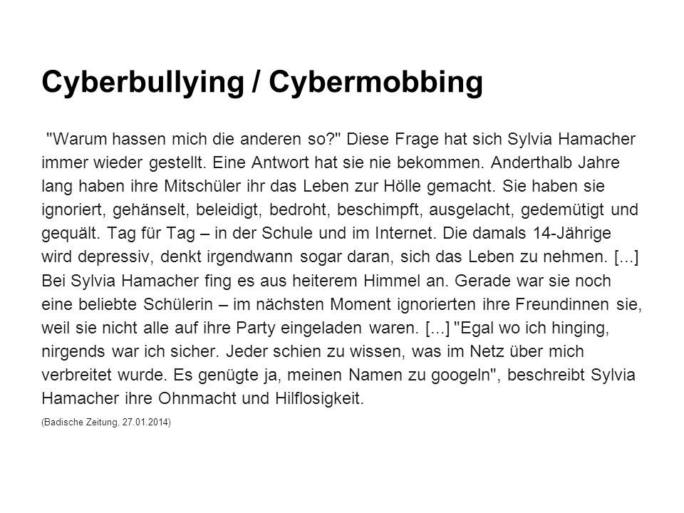 Cyberbullying / Cybermobbing