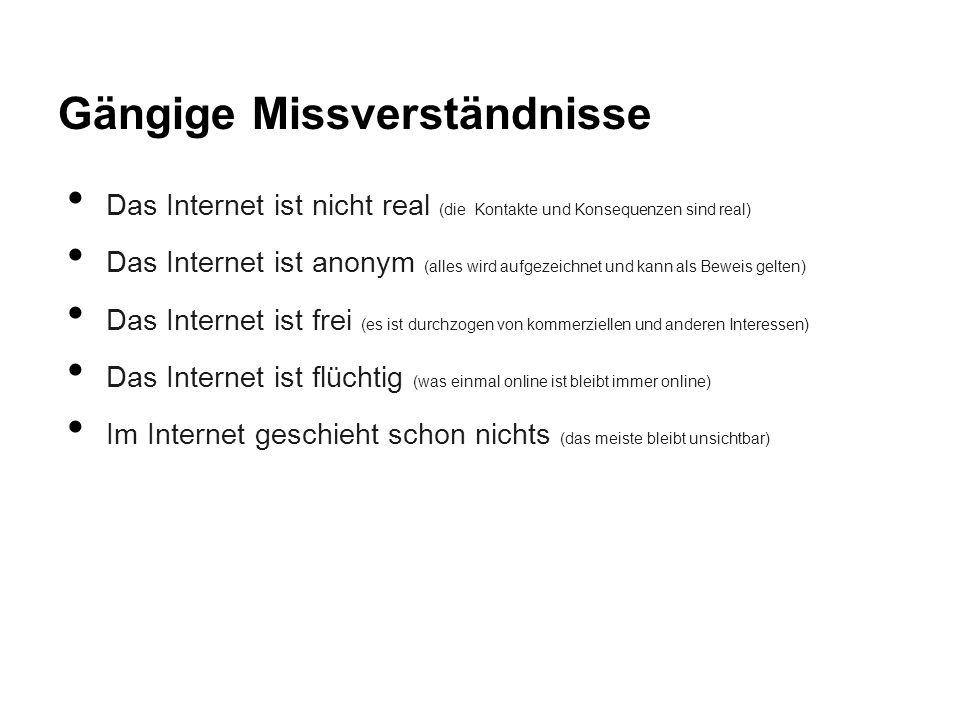 Gängige Missverständnisse Das Internet ist nicht real (die Kontakte und Konsequenzen sind real) Das Internet ist anonym (alles wird aufgezeichnet und