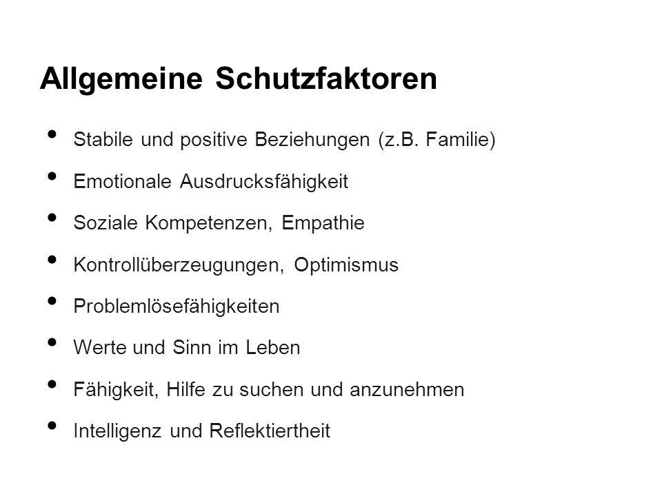 Allgemeine Schutzfaktoren Stabile und positive Beziehungen (z.B. Familie) Emotionale Ausdrucksfähigkeit Soziale Kompetenzen, Empathie Kontrollüberzeug