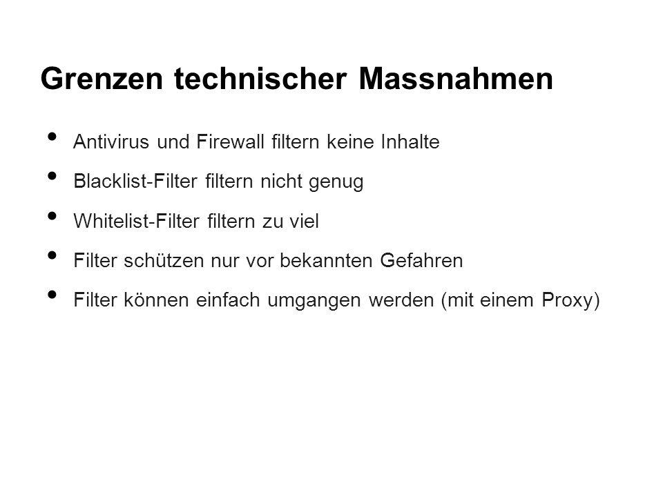 Grenzen technischer Massnahmen Antivirus und Firewall filtern keine Inhalte Blacklist-Filter filtern nicht genug Whitelist-Filter filtern zu viel Filt