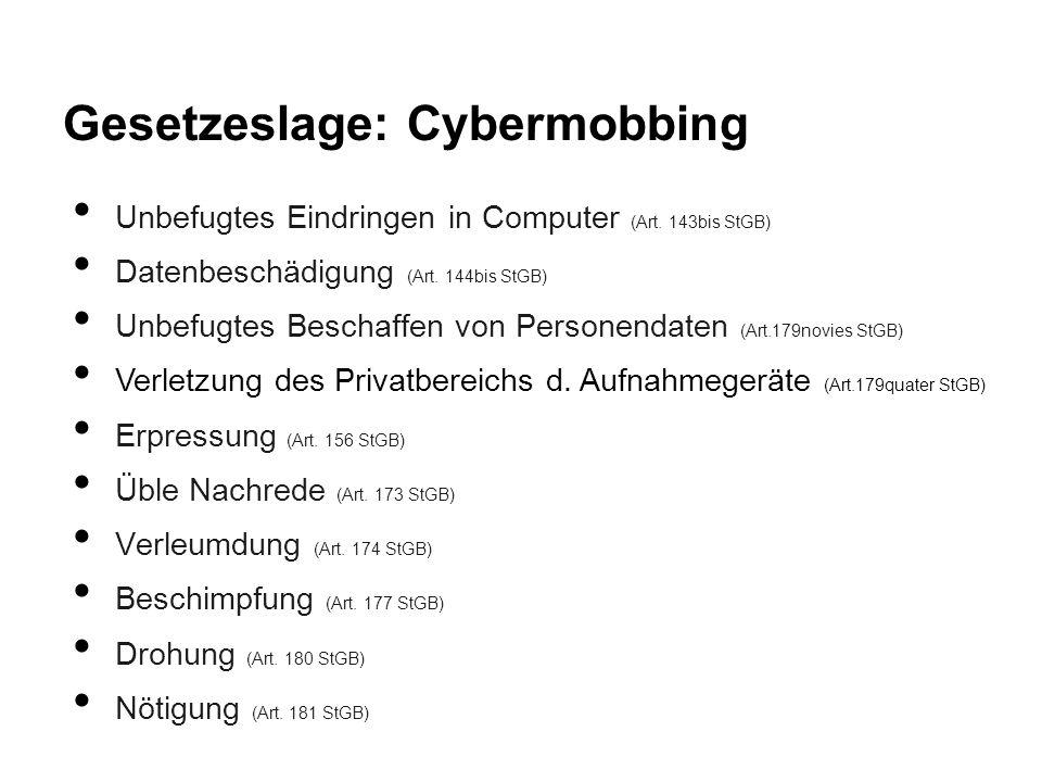 Gesetzeslage: Cybermobbing Unbefugtes Eindringen in Computer (Art. 143bis StGB) Datenbeschädigung (Art. 144bis StGB) Unbefugtes Beschaffen von Persone