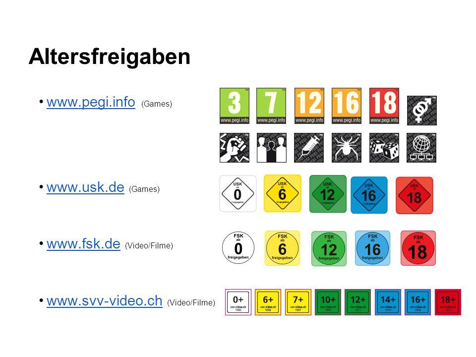 Altersfreigaben www.pegi.info (Games)www.pegi.info www.usk.de (Games)www.usk.de www.fsk.de (Video/Filme)www.fsk.de www.svv-video.ch (Video/Filme)www.s