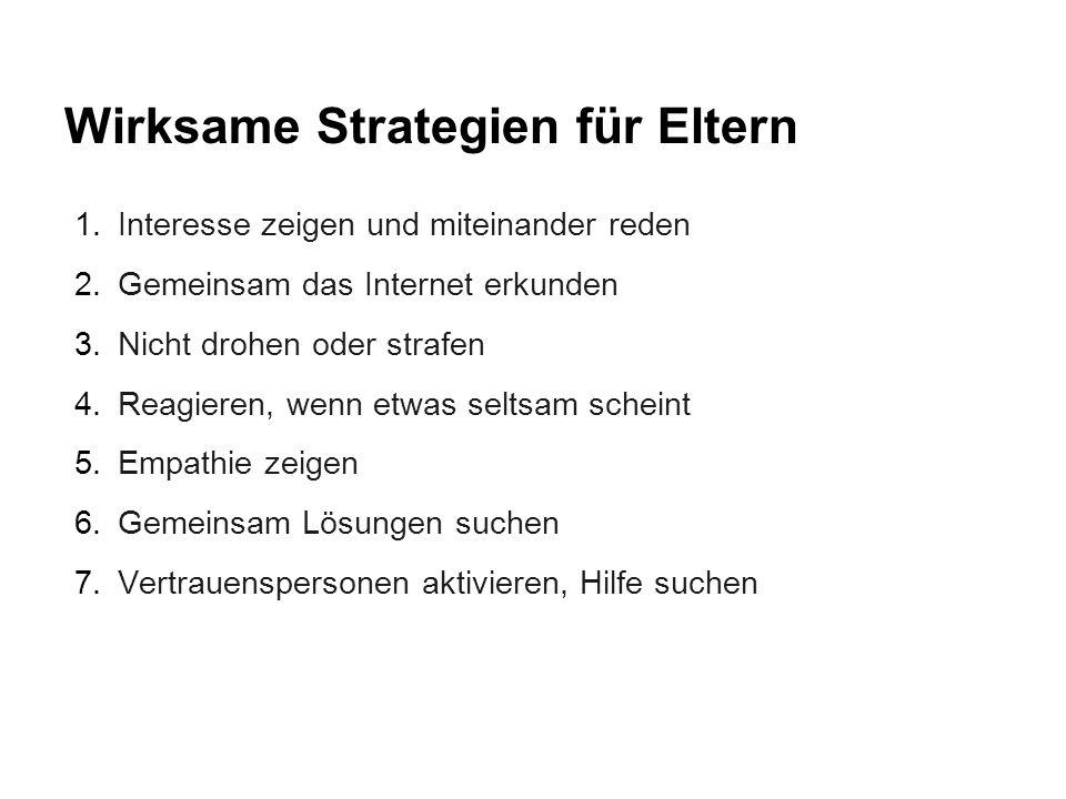 Wirksame Strategien für Eltern 1.Interesse zeigen und miteinander reden 2.Gemeinsam das Internet erkunden 3.Nicht drohen oder strafen 4.Reagieren, wen