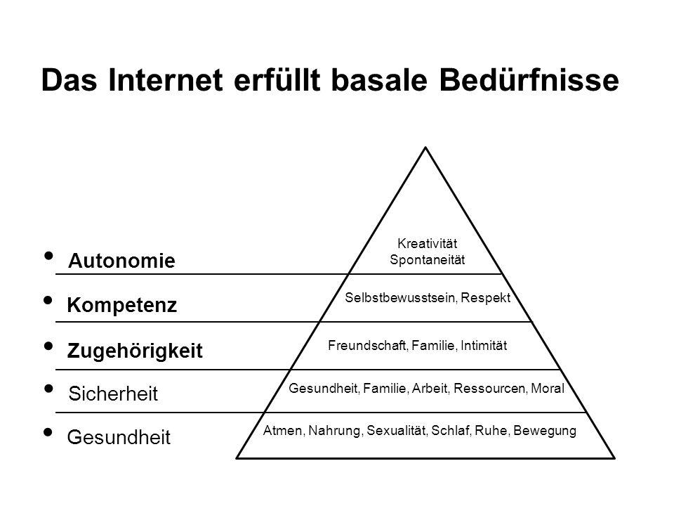 Das Internet erfüllt basale Bedürfnisse Atmen, Nahrung, Sexualität, Schlaf, Ruhe, Bewegung Gesundheit Gesundheit, Familie, Arbeit, Ressourcen, Moral S