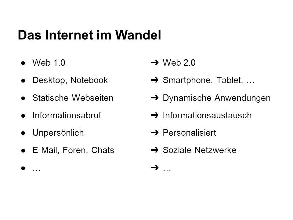 Das Internet im Wandel ●Web 1.0 ●Desktop, Notebook ●Statische Webseiten ●Informationsabruf ●Unpersönlich ●E-Mail, Foren, Chats ●… ➔ Web 2.0 ➔ Smartpho