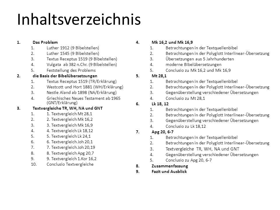 Inhaltsverzeichnis 1.Das Problem 1.Luther 1912 (9 Bibelstellen) 2.Luther 1545 (9 Bibelstellen) 3.Textus Receptus 1519 (9 Bibelstellen) 4.Vulgata ab 38
