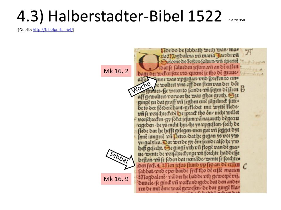 Mk 16, 2 Mk 16, 9 Woche Sabbat 4.3) Halberstadter-Bibel 1522 – Seite 950 (Quelle: http://bibelportal.net/)http://bibelportal.net/