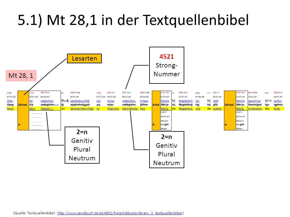5.1) Mt 28,1 in der Textquellenbibel Mt 28, 1 Lesarten (Quelle: Textquellenbibel: http://www.sendbuch.de/a14852/freischaltcode-library_2_textquellenbi