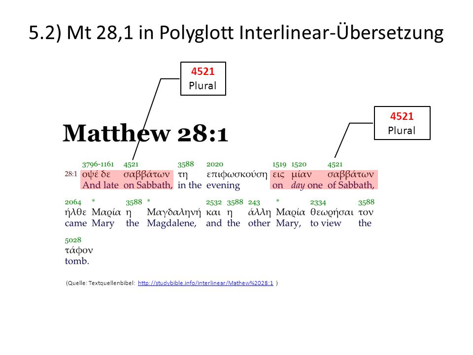 5.2) Mt 28,1 in Polyglott Interlinear-Übersetzung (Quelle: Textquellenbibel: http://studybible.info/interlinear/Mathew%2028:1 )http://studybible.info/interlinear/Mathew%2028:1 4521 Plural