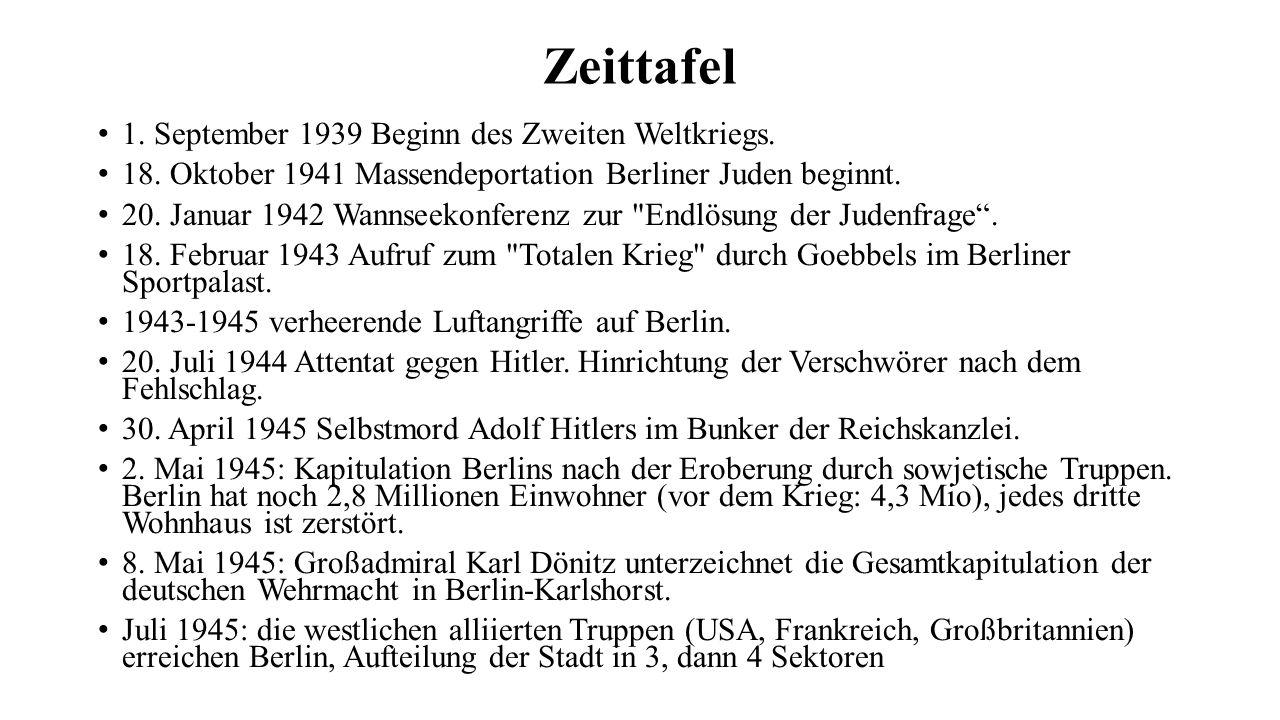 Zeittafel 1. September 1939 Beginn des Zweiten Weltkriegs. 18. Oktober 1941 Massendeportation Berliner Juden beginnt. 20. Januar 1942 Wannseekonferenz
