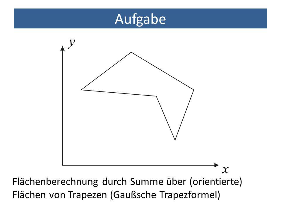 Aufgabe x y Flächenberechnung durch Summe über (orientierte) Flächen von Trapezen (Gaußsche Trapezformel)
