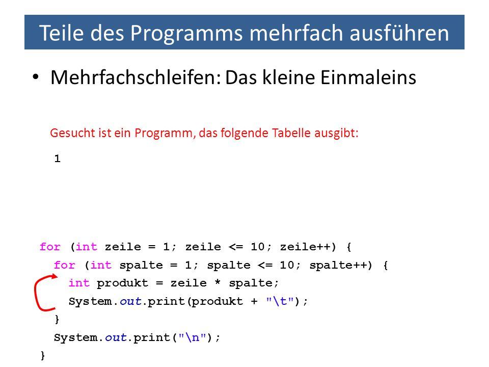 Teile des Programms mehrfach ausführen Mehrfachschleifen: Das kleine Einmaleins Gesucht ist ein Programm, das folgende Tabelle ausgibt: 1 for (int zei