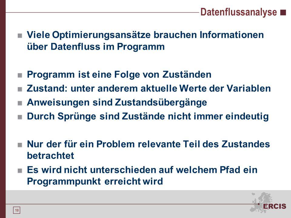 10 Datenflussanalyse Viele Optimierungsansätze brauchen Informationen über Datenfluss im Programm Programm ist eine Folge von Zuständen Zustand: unter