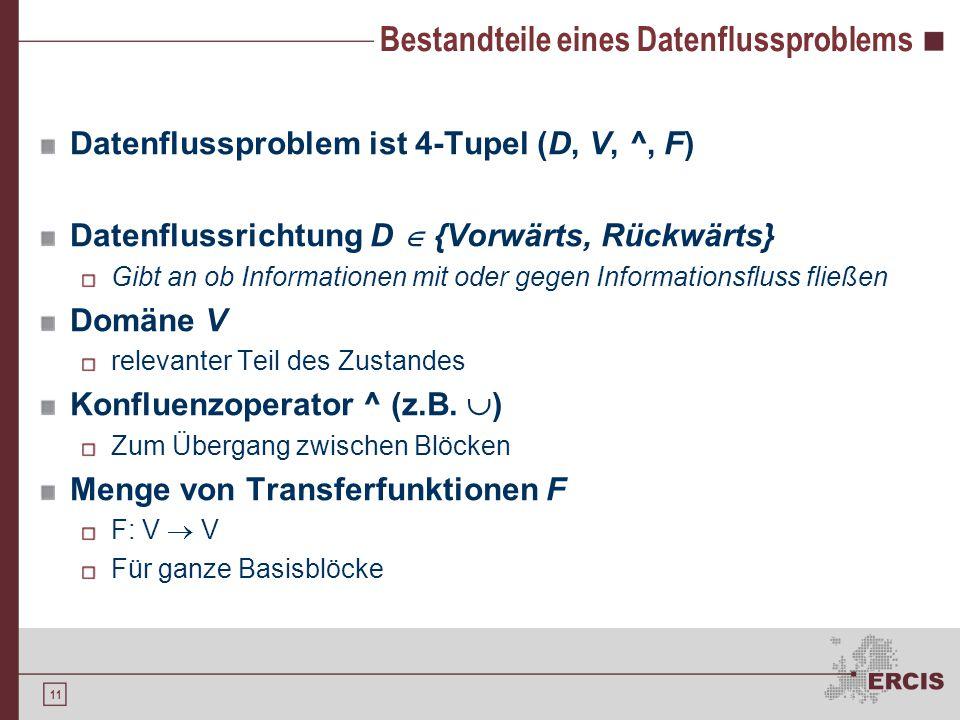 11 Bestandteile eines Datenflussproblems Datenflussproblem ist 4-Tupel (D, V, ^, F) Datenflussrichtung D  {Vorwärts, Rückwärts} Gibt an ob Informationen mit oder gegen Informationsfluss fließen Domäne V relevanter Teil des Zustandes Konfluenzoperator ^ (z.B.