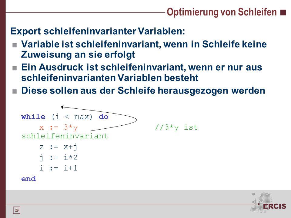 29 Optimierung von Schleifen Export schleifeninvarianter Variablen: Variable ist schleifeninvariant, wenn in Schleife keine Zuweisung an sie erfolgt Ein Ausdruck ist schleifeninvariant, wenn er nur aus schleifeninvarianten Variablen besteht Diese sollen aus der Schleife herausgezogen werden while (i < max) do x := 3*y//3*y ist schleifeninvariant z := x+j j := i*2 i := i+1 end