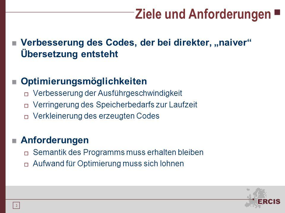 """3 Ziele und Anforderungen Verbesserung des Codes, der bei direkter, """"naiver"""" Übersetzung entsteht Optimierungsmöglichkeiten Verbesserung der Ausführge"""