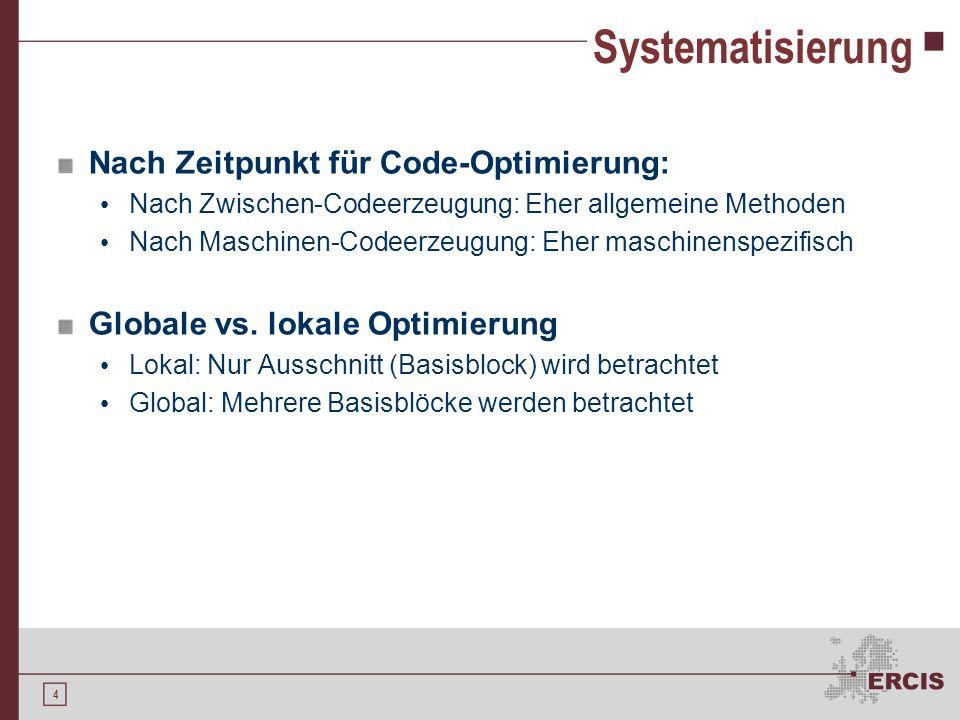 4 Systematisierung Nach Zeitpunkt für Code-Optimierung: Nach Zwischen-Codeerzeugung: Eher allgemeine Methoden Nach Maschinen-Codeerzeugung: Eher masch