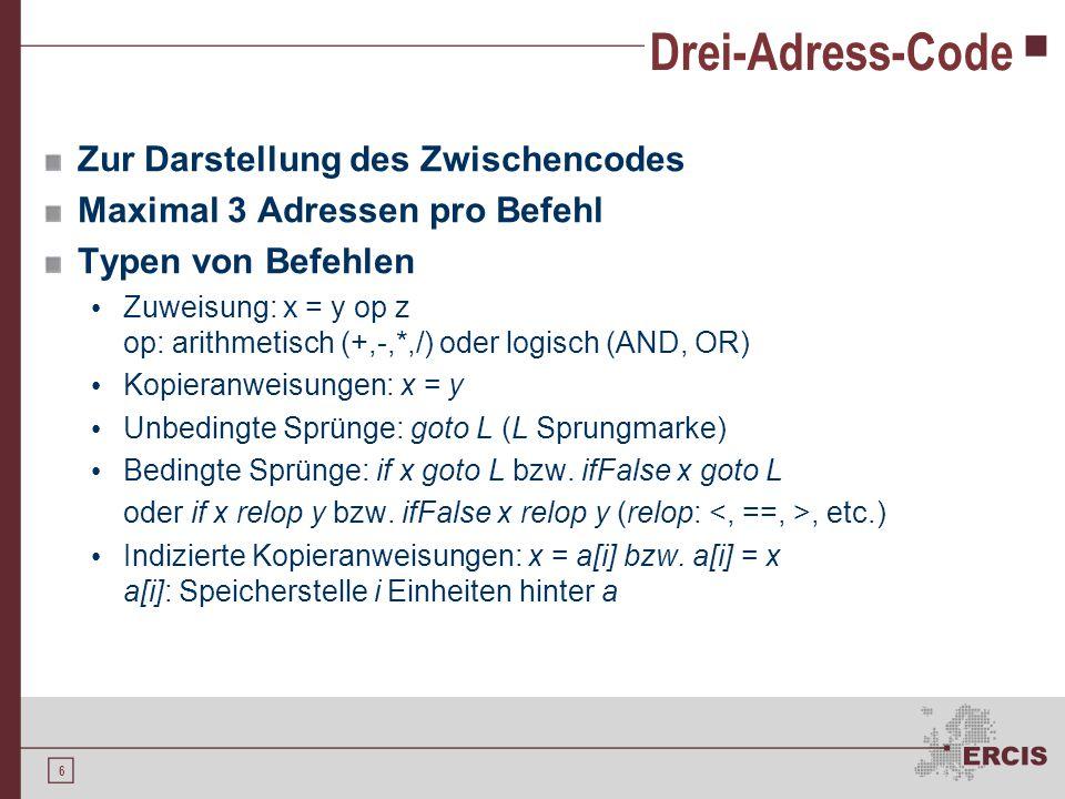 6 Drei-Adress-Code Zur Darstellung des Zwischencodes Maximal 3 Adressen pro Befehl Typen von Befehlen Zuweisung: x = y op z op: arithmetisch (+,-,*,/) oder logisch (AND, OR) Kopieranweisungen: x = y Unbedingte Sprünge: goto L (L Sprungmarke) Bedingte Sprünge: if x goto L bzw.