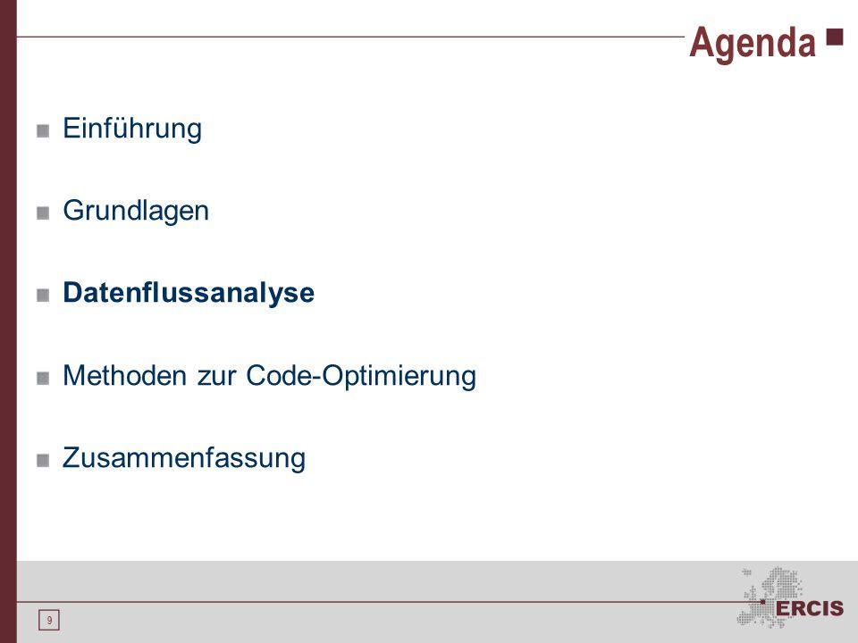 9 Agenda Einführung Grundlagen Datenflussanalyse Methoden zur Code-Optimierung Zusammenfassung
