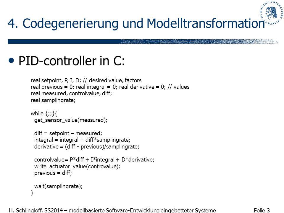 Folie 3 H. Schlingloff, SS2014 – modellbasierte Software-Entwicklung eingebetteter Systeme 4. Codegenerierung und Modelltransformation PID-controller
